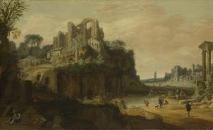 左にはパラティヌスの丘、右にはローマのフォーラムの一部がある、ローマの風景