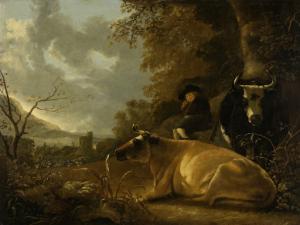 牛と若い牛飼いがいる風景