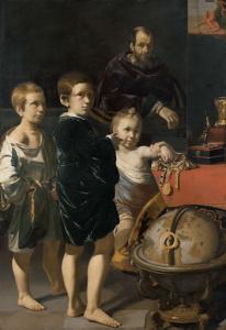 三人の子どもと男の肖像