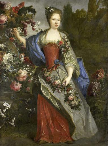 伝統によると、フローラのドゥチェッセ・デ・ベリー、マリー・ルイーズ・エリザベス・デ・オルレアン(1695-1719)であろう、女の肖像