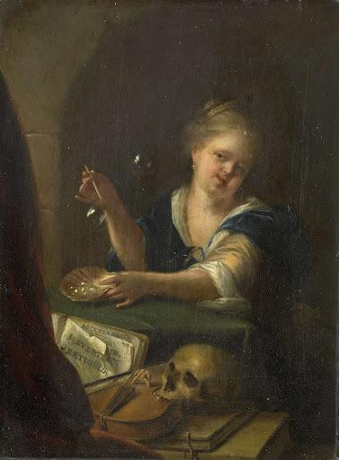ヴァニタスの静物とシャボン玉を作る少女