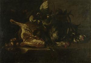 肉や死んだ鳥のある静物