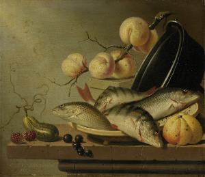 魚と果物のある静物