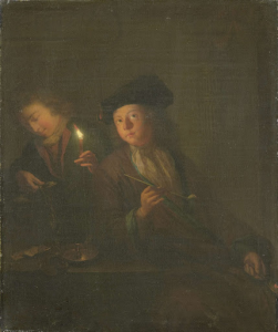 タバコを吸う男(パイプを持った男性とグラスに飲み物を注ぐ男)