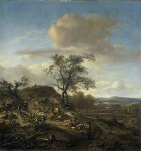 狩人と人影のある風景