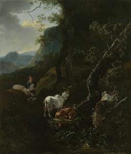 山のある風景で動物と一緒にいる女性の羊飼い