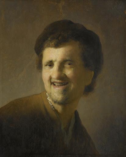 笑う若い男の胸像
