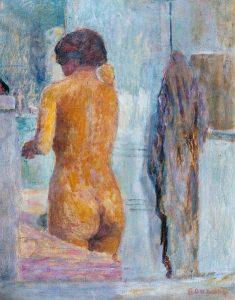 後ろから見た入浴する女性