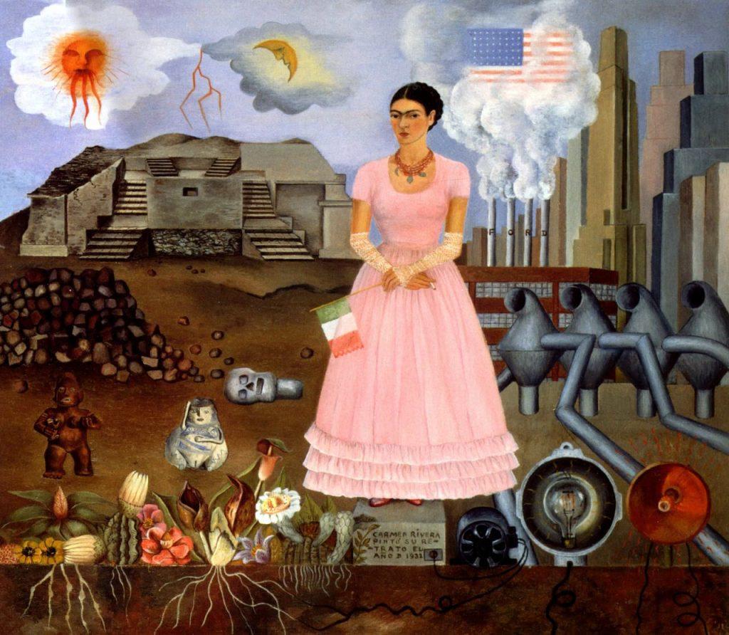メキシコとアメリカ合衆国の国境上の自画像