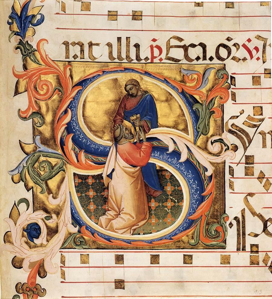 装飾文字S:聖ペテロへの天国の鍵の授与