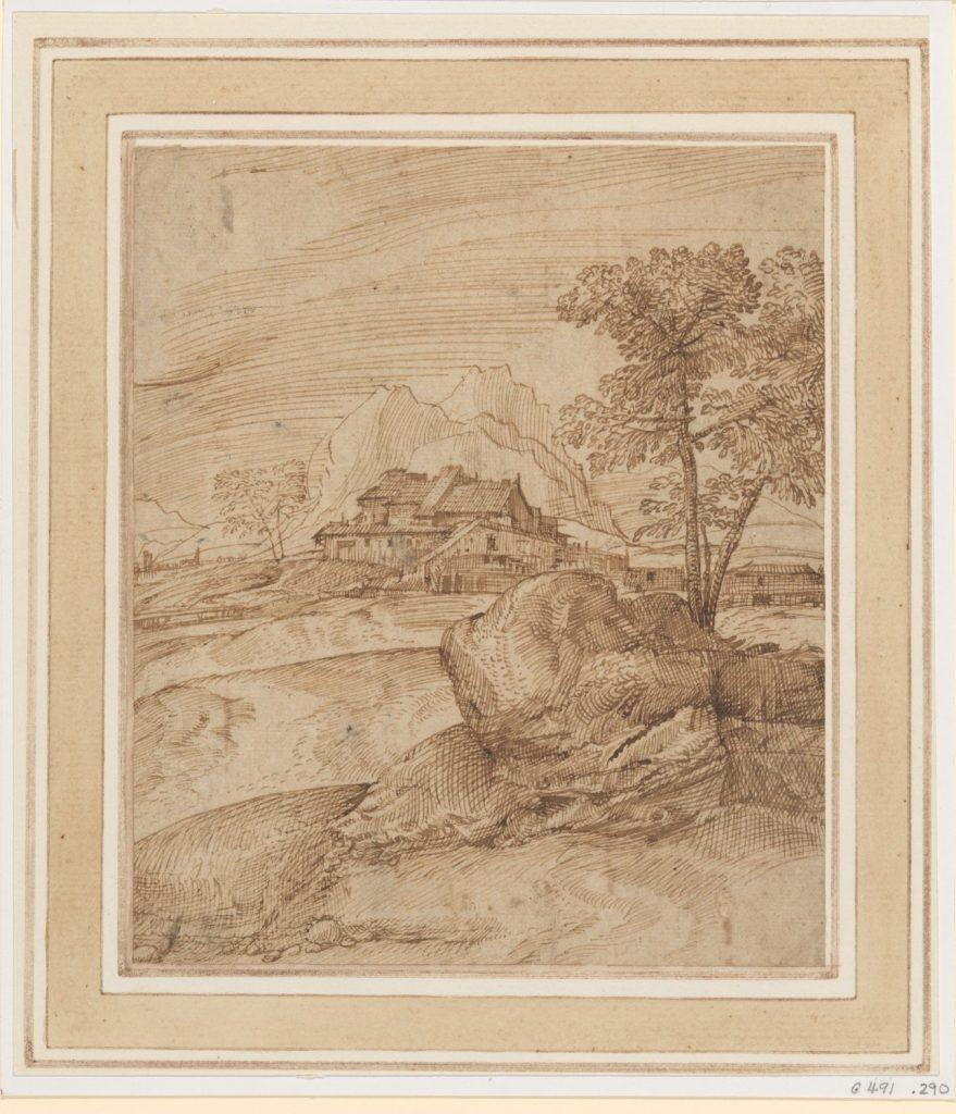 木々、岩、建物と山の風景