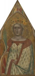 Pietro Lorenzetti (Sienese, active 1306 - 1345 ), Saint Catherine of Alexandria, with an Angel [right panel], probably 1340, tempera on panel transferred to canvas, Gift of Frieda Schiff Warburg in memory of her husband, Felix M. Warburg 1941.5.1.c